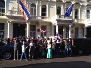 Outside the Thai Embassy, London.